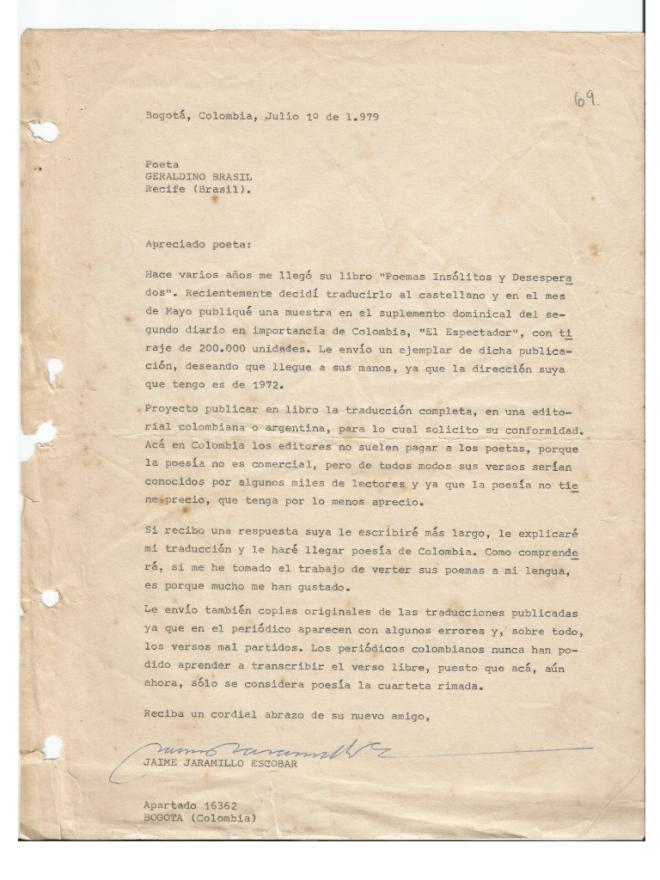 A primeira carta de Escobar para Brasil